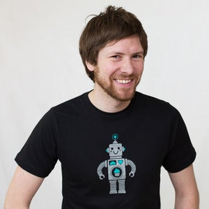 Image of Robot with Cupcake Adult Short Sleeve Organic Tee 