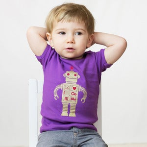 Image of Gold on Purple Sparkle Robot Short Sleeve Organic Onesie/Tee