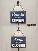 Image of Metal Open &amp; Closed Sign - Vintage Style - Photography Prop