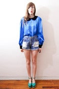 Image of cobalt pan blouse