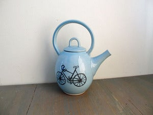 Image of Porcelain Teapot with Bicycle Design