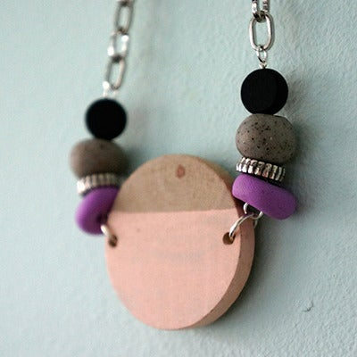 Image of Wooden Circular Necklace (4)