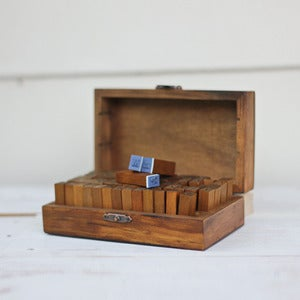 Image of Wooden Alphabet Stamp Set