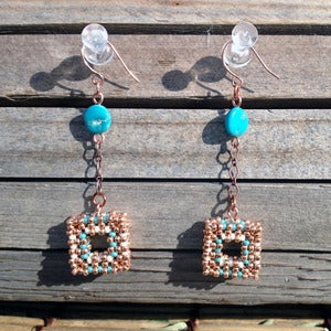 Image of Copper Windowpane Earrings