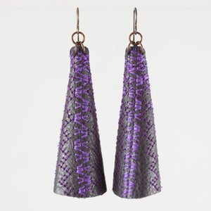Image of Emily Floyd Leather Cone Earrings in Purple