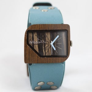 Image of Mistura Wooden Watch with Turquoise Wrist Strap