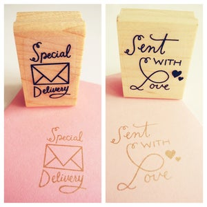 Image of Special Delivery + Sent with Love Rubber Stamp