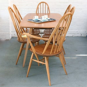 Image of Vintage Ercol Plank Dining Table & Chairs
