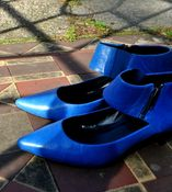 Image of ELECTRIC BLUE LEATHER ANGULAR SHOES