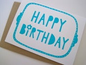 Image of HAPPY BIRTHDAY greetings card in turquoise