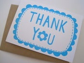Image of THANK YOU greetings card in sky blue