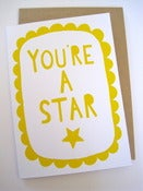 Image of YOU'RE A STAR greetings card in yellow