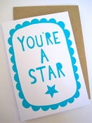 Image of YOU'RE A STAR greetings card in turquoise