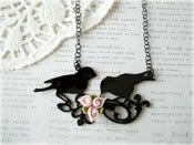 Image of Large Black Enamel Birds with Pink Flower Necklace