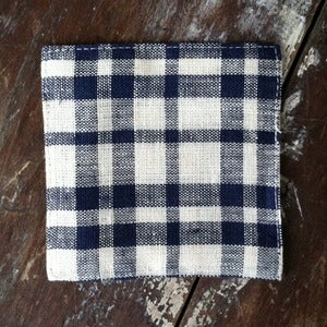 Image of Coasters: Beige Navy Plaid