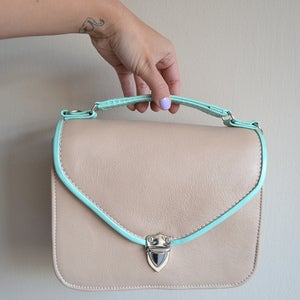 Image of Mady duo Mint green and nude leather crossbody bag