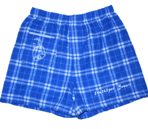 Image of Blue and White Flannel Boxers with Matching Pocket