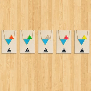 Image of Twin Triangle Necklace: Cyan series