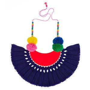 Image of Downtown Boogie Woogie tassel pom pom necklace