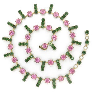 Image of Vintage Pink & Green Deco Paste Ornate Rhinestone Collar Necklace