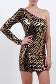 Image of Gold Sequin leaf print dress