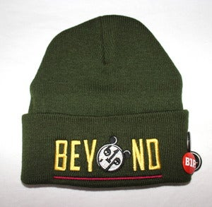 Image of Olive BEYOND Beanie (yellow/maroon)