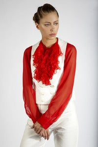 Image of Ruffle Bib Blouse