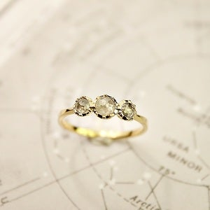 Image of 18ct gold, opaque diamond trilogy ring {SOLD No.59}