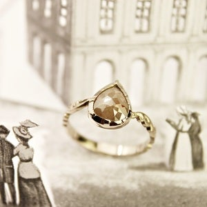 Image of 18ct white gold, opaque diamond teardrop ring (No. 24)