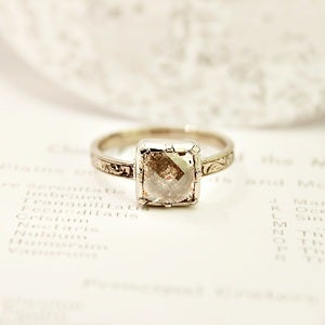 Image of 18ct white gold square opaque diamond ring {No.25}