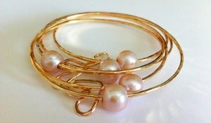 Image of Pink Freshwater Pearl Gold Bangle