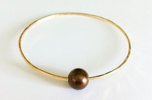Image of Chocolate Freshwater Pearl Gold Bangle