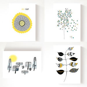 Image of I Love Grey & Yellow - set of 4 postcards