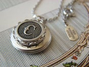Image of Antiqued Silver Monogram Locket