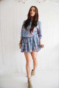Image of Blue and lilac paisley print hippy dress