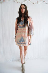 Image of Pale pink tie-dye kaftan dress