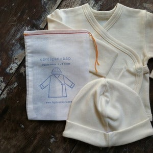 Image of Organic Cotton Baby Cap & Cardigan