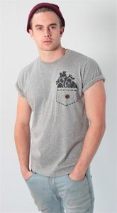 Image of Grey &amp;#x27;Heart pocket&amp;#x27; T shirt