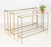 Image of Woodard Skinny Gold Leaf Console
