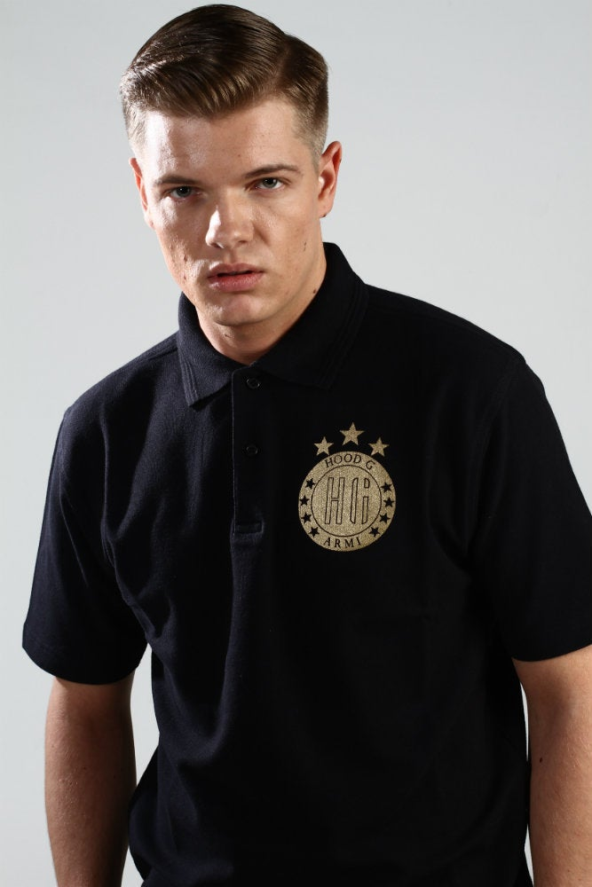 Image of Black Polo ROYAL CROWN (Gold Logo)