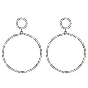 "Image of "" New "" Kara Ackerman <i> Talulah <i/>  Faceted Stone Circle Drop Earrings in Rhodium"