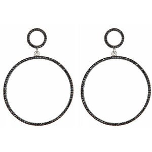 "Image of "" New "" Kara Ackerman <i> Talulah <i/>  Faceted Black Stone Circle Drop Earrings in Rhodium"