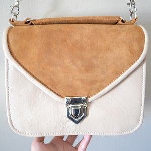Image of Mady Nude, gold & brown suede leather crossbody bag