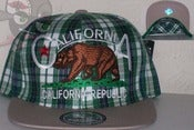 Image of Califorina Republic Green Plad Snapback Hat Cap