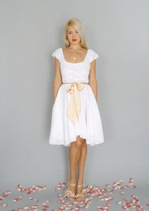 Image of Imogen: White lace dress with circle skirt & low back...