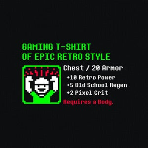 Image of Gaming T-Shirt of Epic Retro Style - Black tee