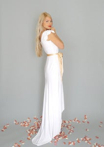 Image of Marguerite: White boho sheath gown with high low hemline...
