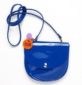 Image of NEW PATENT Cobalt Blue Largeish Leather Locket Handbag