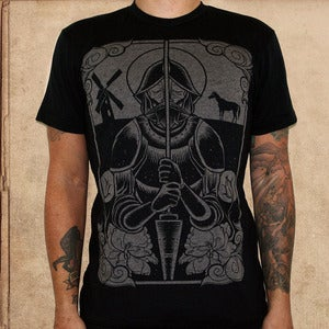 Image of Don Quixote - 50/50 black - discharge ink - unisex