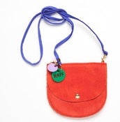 Image of NEW Tangerine COWHIDE Largeish Leather Locket Handbag